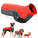 POPETPOP Winter Hund Jacke Wasserdichte Fleecejacke Pet Parka Warmen Mantel Hundebekleidung für Große Hunde Größe 5XL (Rot)
