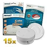 15x Detector de Humo Nemaxx Mini-FL2 Mini Detector de Fuego y Humo Detector con batería de Litio de Acuerdo con la Norma DIN EN 14604 + Nemaxx Pad de