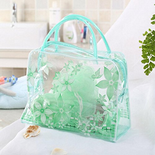 Hunpta Transparente PVC-Blume Wasserdichte Make up Toilettenartikel Wäsche Kosmetik Tasche Grün