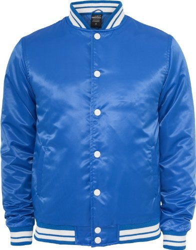 Urban Classics Herren Shiny College Jacke - Slim Fit Grey/White