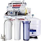 iSpring 100GPD Sistema Filtrazione Acqua 7 Fasi a Osmosi Inversa Alcalina UV con Pompa, Modello RCC1UP-AK
