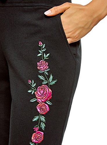 oodji Ultra Femme Pantalon en Maille avec Broderie Noir (2943P)