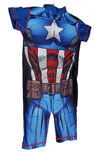 Kinder Badeanzug Official Iron Man Captain America Superman Batman Frozen Peppa Pig Jungen Mädchen Badeanzug UV Sonnenschutz 50 - Captain America, 2-3 Jahre (Peppa Badeanzüge Für Mädchen)
