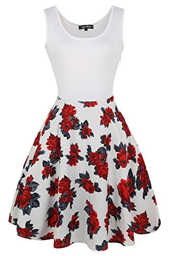 Babyonline® Damen Sommerkleider Ärmellos Strandkleider Casual Retro Kleider Mit Blumen Weiß