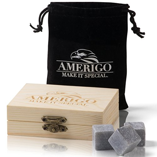 Amerigo Pierre a Whisky de Haute Qualité de Édulcoler Votre Whisky? Plus jamais! Ensemble de Cadeaux Glacon Reutilisable - Whisky Stones Gift Set - Glacon Pierre Whisky Granit - Cadeau Homm