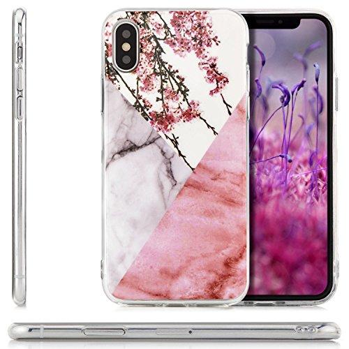 zanasta iPhone X Hülle + Panzerglas Silikon Case Schutzhülle Ultra Slim Back Cover mit Motiv Marmor-Blau-Gold Sakura