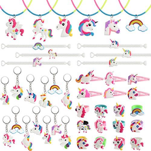 Tuparka 52Pcs Einhorn Party Taschen Füllstoffe, Einhorn Schlüsselanhänger, Ringe, Armbänder, Halskette, Haarspangen für Mädchen Jungen Einhorn Birthday Party Favor ()