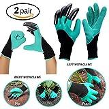 Ranphy Garten Handschuhe mit Kralle Garten-Genie Handschuhe Wasserdicht Zum Bepflanzen Beschneiden Graben Jäten für Damen Herren 2Paar