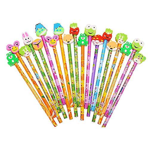 Morkia matite per bambini 24pcs matite con gomma da disegno set matita del fumetto matita in legno,ideale per regalo dei bambini per festa di compleanno bambini party festival