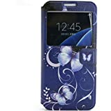View Window Cuir Etui Coque Housse per Samsung Galaxy A5 A5100(2016 version) Smartphone, Yihya Mince Flip Folio PU Leather Wallet Case Protection Portefeuille Slim Stand Cover avec Stylus Pen--Blue Butterfly