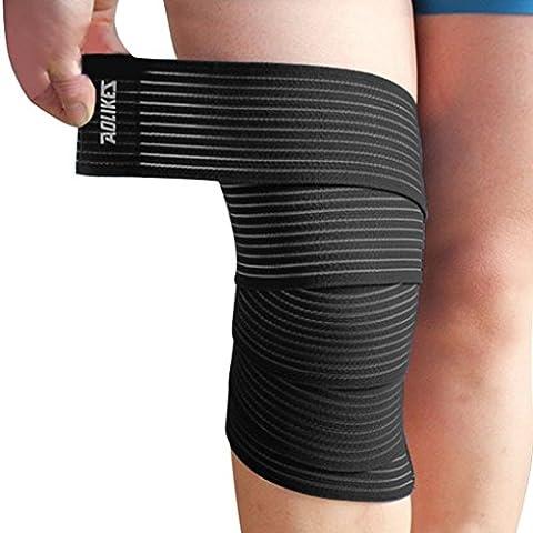 ACME Kniebandagen - Bandagen für Kraftsport, Bodybuilding, Powerlifting, CrossFit & Fitness - Für Frauen & Männer - 180*7,5cm - Schwarz - Paar