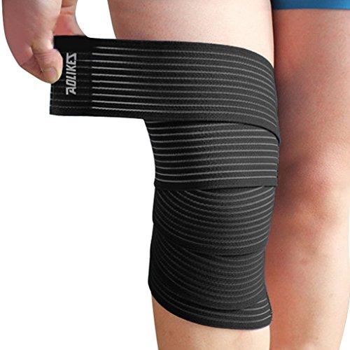 ACME-Sport-Ginocchiera a sfera compressione rinforzato, regolabile, con elastico, motivo: fascia in Velcro per Sport-Running-Protezione per ginocchia