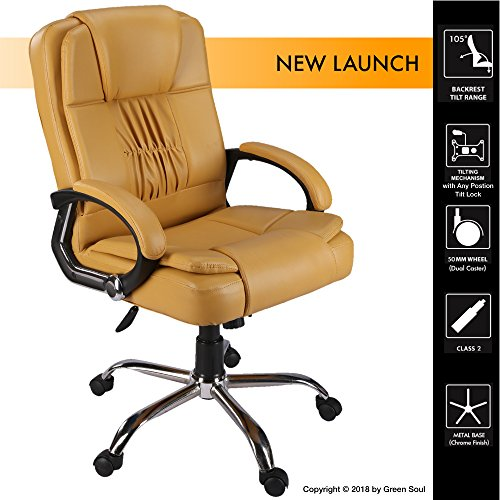 Green Soul Madrid Mid Back Leatherette Office Chair (Beige)