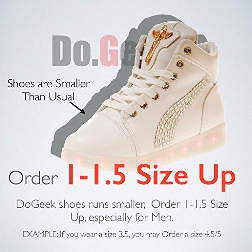DoGeek - Chaussures Baskets LED Lumineuse Femme Homme -Croix d'ange - USB Rechargeable-7 Couleurs lumi¨¨re Blanc