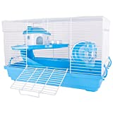 FiNeWaY Complete Hamster Cage Feeding Habitat Portable Gerbils Mice Home Mouse House-Perfect For Hamsters And Gerbils (BLUE)