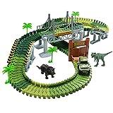 Autorennbahn Car Track Rennbahn Spiel Set Montage Spielzeug Autobahn mit Dinosaurier Figuren Tyrannosaurus Rex Triceratops für Kinder ab 3 4 5 Jahren