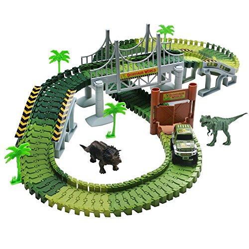 TONZE Pista Coches Flexible Juguetes con Dinosaurio Juego Electrónico para Niños 3 4 5 Años (Pista)