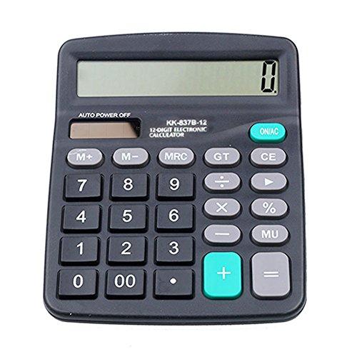 GEZICHTA Büro Desktop Taschenrechner Solar und Akku Power Elektronische Portable 12-stelliger Tischrechner Großes LCD-Display, Taschenrechner, 147x 118mm