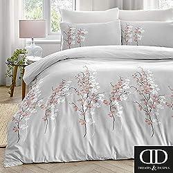 Dreams & ‿Drapes Parure de lit avec Housse de Couette Motif Fleurs orientales Rose Double