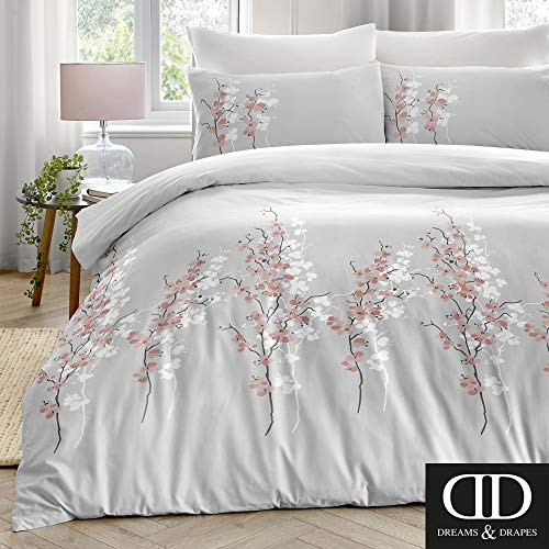 Dreams & Drapes Oriental Flower-Easy Care Duvet Cover Set, Pink Silver, Super-King