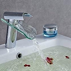 Auralum® Mitigeur Lavabo Robinet Salle de Bain Cascade Robinetterie en Verre pour Bassin et Vasque …