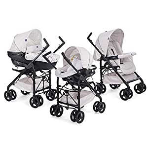 Chicco Trio-System Sprint Black with Car Kit, Sandshell Cosatto Includes - Pushchair, Carrycot, Port Car seat, adaptors and Raincover All round suspension Suitable from birth carrycot and Car seat 11
