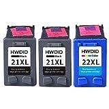 HWDID wiederaufbereitete 21 XL 22 XL Tintenpatronen Ersatz für HP 21 XL und 22 XL C9351AE C9352AE für PSC 1400 1402 1410 DeskJet F310 F325 F370 (2 Schwarz 1 Farbe )