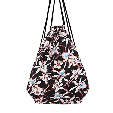 kingko® turnbeutel Frauen Floral Kordelzug Strahl Port Rucksack Einkaufstasche Reisetasche
