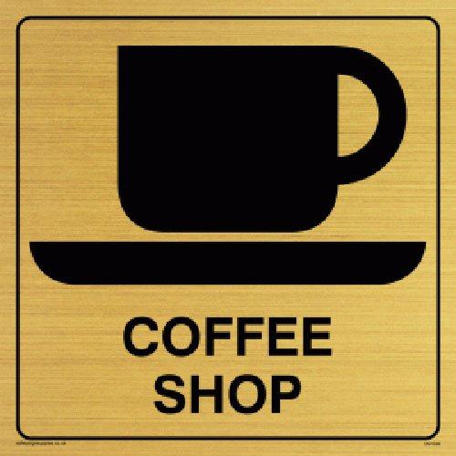Viking Schilder dv1048-s15-gv 'Coffee Shop' Sign, Positive Schwarz Text mit Bordüre, Vinyl gold Aufkleber, 150Mm H x 150mm W