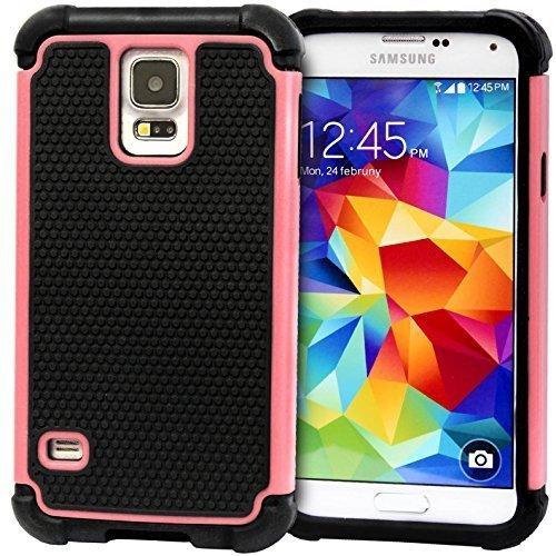 Doppelschicht Hybrid Harte Silikon Hülle Kombo etui für Samsung Galaxy S5 G900F G900H i9600 & S5 Mini G800 - Babyrosa, Samsung Galaxy S5 Mini G800 (Samsung Galaxy 4s Otter Mini Box)