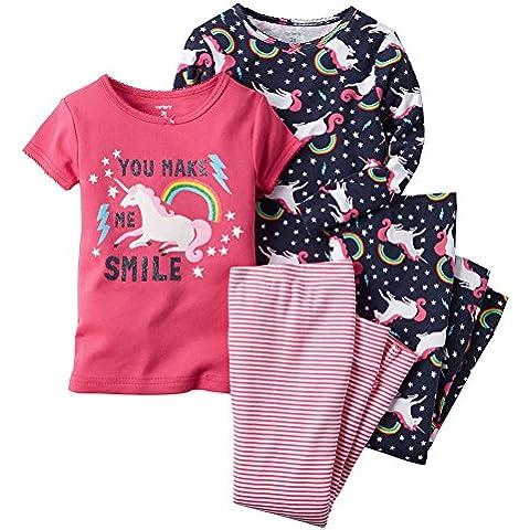 Carters Bambine 4aderente cotone pigiama unicorno Smile 5T