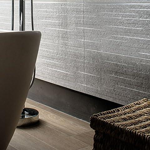 Silver Stone Effect Ceramic Matt Wall Tiles Bathroom Kitchen Utility Room - 25 cm x 60 cm