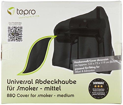 Tepro Universal Grillabdeckhaube 8107 für Smoker, mittel, schwarz, 73.7 x 125.7 x 119.4 cm | passend für tepro 1087, 1094H