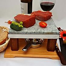Piedra para asar carne Piedrasar con un quemador de alcohol