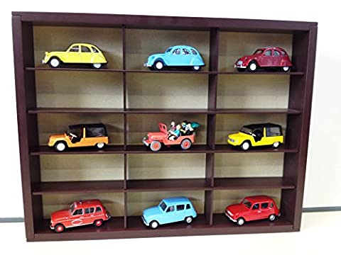 LOT se composant de: 1 MEUBLE à ETAGERES + 9 voitures miniatures mythiques 1:43 CITROEN 2CV MEHARI RENAULT 4L JEEP TINTIN (réf: PET-9.FUN)