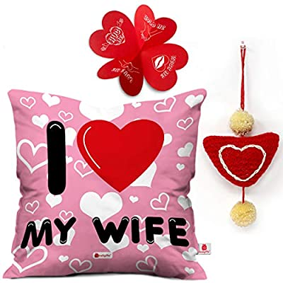 """Indigifts Valentine Gifts Cushion Cover 12""""x12"""" with Filler, Mug 330 ml - Gift for Girlfriend-Boyfriend-Wife-Husband-Men-Birthday, Romantic Gift"""