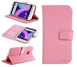 HTC One M8 Case, ACEABOVE Premium Wallet Leather Case for HTC One M8 (2014 Release), Pink [Built-in Credit Card/ID Card Slot]