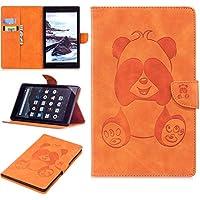 Thrion Tímido Panda PU-Cuero Función de Soporte Protectora Plegable Smart Cover [Auto-Tesbloquear] [Botones Protegidos] Funda para Amazon Kindle Fire HD 8 - Naranja (Auto Sueño/Estela)