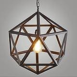 Luce moderna semplice lampadario in ferro Nordic creativo diamanti uccelli lampade da soffitto Restaurant Bar Cafe lampada pendente Guinzaglio 100cm regolabile–E27(non incluse) nero