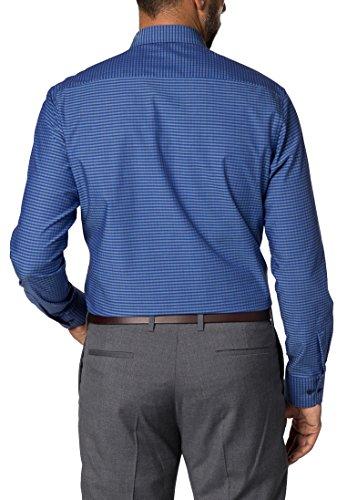 eterna Langarm Hemd Modern Fit Popeline Kariert Blau/Schwarz
