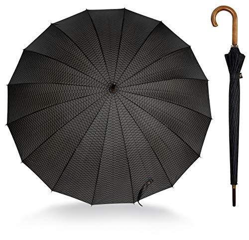 Regenschirm schwarz eleganter Stockschirm Gentlemen - Klassische Handöffnung Schirm mit stabilem Holzgriff 89cm hoch 103 cm Durchmesser 16 Segmente für extra große Stabilität 6 Gentleman Designs