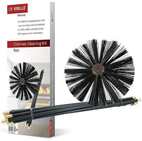 De Vielle - Conjunto de Limpieza para Chimenea, metálico, Color Negro, 9...