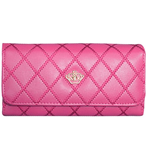Casadeiy moda donne Lady portafoglio in pelle PU Crown Purse Blue Hot Pink