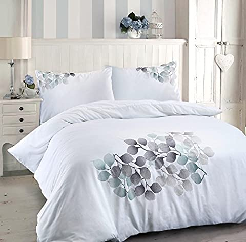 Roseburg Luxury 180 Thread Count Percale White Duvet Quilt Cover Pillowcases Set with Retro Leaf Floral Embroidery (King Duvet Cover