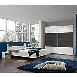Wimex Schlafzimmer Set Ilona, bestehend aus einem Schrank, Bett und Nachtschränken, Liegefläche 180 x 200 cm, Weiß