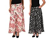 2DAY's Women Stylish Georgette Plazzo Floral and Butterfly Print (Pack of 2)