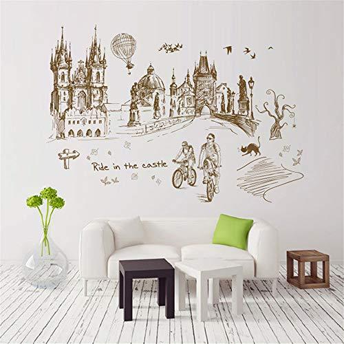 Preisvergleich Produktbild Yptie Wohnzimmer Schlafzimmer Entfernbare Kunst 3D Wandaufkleber Tapete Wandbild Wallpaper Hintergrund Dekor Retro Städtereise
