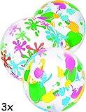 HOMETOOLS.EU® - 3x Bade-Ball   Strand-Ball, Wasser-Ball, Beach-Ball, Bade-Bälle,   aufblasbar, Bunt, 41cm   3er Familien SET