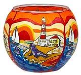 Himmlische Düfte Geschenkartikel CC201 Tischdekoration, Seaside Windlicht Glas 11 x 11 x 9 cm, bunt