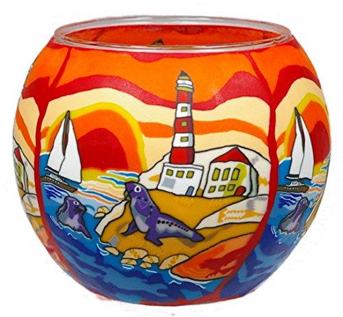Preisvergleich Produktbild Himmlische Düfte Geschenkartikel GmbH Seaside Windlicht,  Glas,  bunt 11x11x9 cm